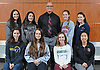 Members of Newsday's 2018 All-Long Island girls tennis team pose for a group portrat at company headquarters in Melville on Thursday, Nov. 29, 2018. Appearing are, FRONT ROW, FROM LEFT: Emily Tannenbaum of Commack, Rachel Arbitman of Hewlett, Rose Hayes of Westhampton and Calista Sha of Friends Academy. BACK ROW, FROM LEFT: Lauren Cherkin of Half Hollow Hills East, Alexis Huber of Half Hollow Hills East, Coach John Czartosieski of Westhampton, Lauren Zola of South Side and Julia Gentile of South Side.