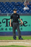 Home plate umpire Steven Jaschinski during the Carolina League game between the Fayetteville Woodpeckers and the Wilmington Blue Rocks at Frawley Stadium on June 6, 2019 in Wilmington, Delaware. The Woodpeckers defeated the Blue Rocks 8-1. (Brian Westerholt/Four Seam Images)