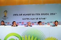 RIO DE JANEIRO, RJ, 30 AGOSTO 2012-FIFA-ENTREVISTA COLETIVA- Ronaldo, membro do COL, o secretário-geral da FIFA, Jerome Valcke, o presidente do COL, José Maria Marin,o secretario executivo do Ministerio do Esporte, Luis Fernandes, Bebeto membro do Conselho de Administração do COL, Bebeto e  na entrevista coletiva realizada pelo Comitê Organizador Local (COL) da Copa do Mundo da FIFA 2014, posterior à reunião de Diretoria do COL, no dia 30 de agosto de 2012, no Rio de Janeiro, no Hotel Windsor, na Barra da Tijuca, zona oeste do Rio de Janeiro.(FOTO:MARCELO FONSECA/BRAZIL PHOTO PRESS).