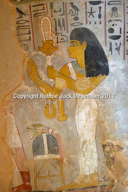 Wall painting in the Tomb of Sennefer at Thebes.The painting is of Sennefer's wife Senetneferet.Sennefer was the mayor of Thebes and overseer of the gardens of Amun in the time of Amenhotep II who ruled Egypt from 1427-1401 or 1427-1397 BC. Thebes is the name the Greeks gave to Waset, the ancient capital of Egypt.