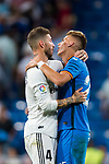 Sergio Ramos of Real Madrid and Ivan Alejo Peralta of Getafe CF hug each other after the La Liga 2018-19 match between Real Madrid and Getafe CF at Estadio Santiago Bernabeu on August 19 2018 in Madrid, Spain. Photo by Diego Souto / Power Sport Images
