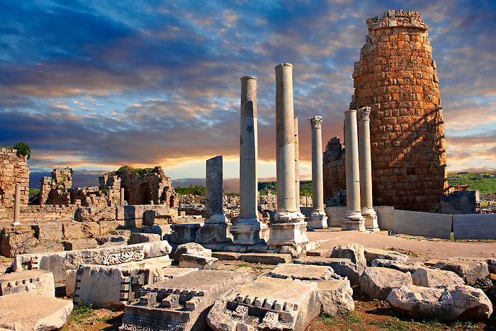 Ruins of the Hellenistic Gate towers of Perge. Perge (Perga) archaeological site, Turkey