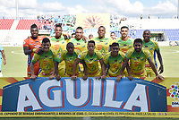 MONTERÍA - COLOMBIA, 13-10-2018:Formación del Atlético Huila  contra Jaguares de Córdoba durante partido por la fecha 14 de la Liga Águila II 2018 jugado en el estadio Municipal Jaraguay de Montería . / Team of Atletico Huila agaisnt of  Atletico Huila during the match for the date 14 of the Liga Aguila II 2018 played at Municipal Jaraguay Satdium in Monteria City . Photo: VizzorImage /Andrés Felipe López  / Contribuidor.