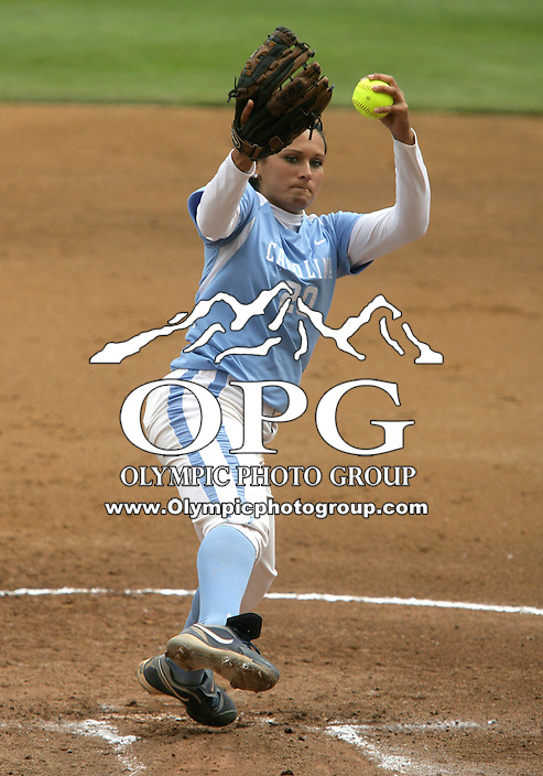 23 May 2010:  University of North Carolina pitcher Danielle Spaulding fires the ball to the plate against Washington.  Washington defeated the University of North Carolina 2-1 in eight innings at Husky Softball Stadium in Seattle, WA to advance in the NCAA regional tournament.