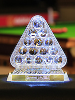 The Dafabet Masters trophy before Dafabet Masters Quarter Final 1 match between Mark Allen and Barry Hawkins at Alexandra Palace, London, England on 14 January 2016. Photo by Liam Smith / PRiME Media Images
