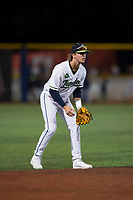 Hillsboro Hops shortstop LT Tolbert (11) during a Northwest League game against the Salem-Keizer Volcanoes at Ron Tonkin Field on September 1, 2018 in Hillsboro, Oregon. The Salem-Keizer Volcanoes defeated the Hillsboro Hops by a score of 3-1. (Zachary Lucy/Four Seam Images)