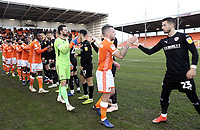 Blackpool's Jay Spearing leads his side in greeting the Barnsley players ahead of kick-off<br /> <br /> Photographer Rich Linley/CameraSport<br /> <br /> The EFL Sky Bet League One - Blackpool v Barnsley - Saturday 22nd December 2018 - Bloomfield Road - Blackpool<br /> <br /> World Copyright &copy; 2018 CameraSport. All rights reserved. 43 Linden Ave. Countesthorpe. Leicester. England. LE8 5PG - Tel: +44 (0) 116 277 4147 - admin@camerasport.com - www.camerasport.com