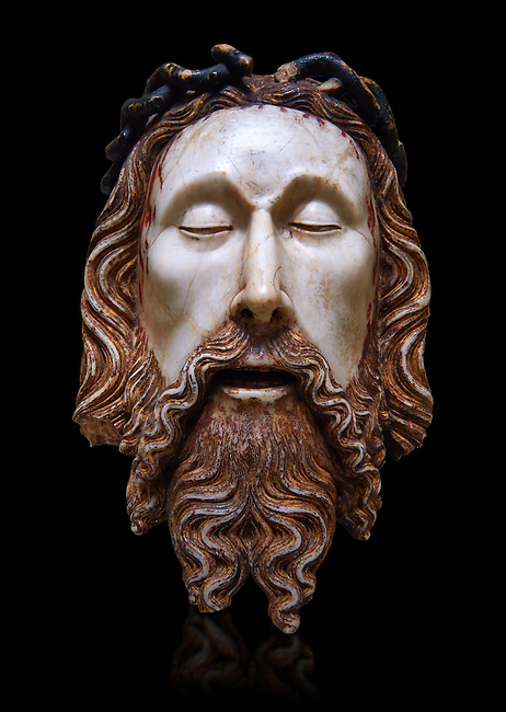 Gothic statue of the Head of Christ by  Jaume Cascalls. Carved alabaster with polychrome and gilt remains.  This head must have belonged to a Recumbent Christ which could have formed part of a sculptural group of the Holy Sepulchre. It probably came from the chapel of Corpus Christi of the convent of Sant Agustí Vell, Barcelona.<br />