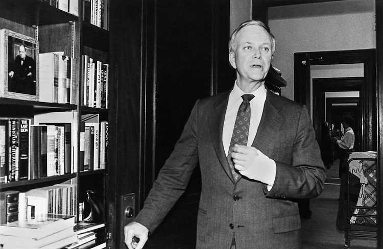 Sen. Bob Packwood, R-Ore., talking. Febuary 3, 1988 (Photo by Laura Patterson/CQ Roll Call)