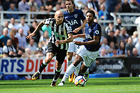 Mohamed Diame of Newcastle United turns Mousa Dembele of Tottenham Hotspurduring Newcastle United vs Tottenham Hotspur, Premier League Football at St. James' Park on 13th August 2017