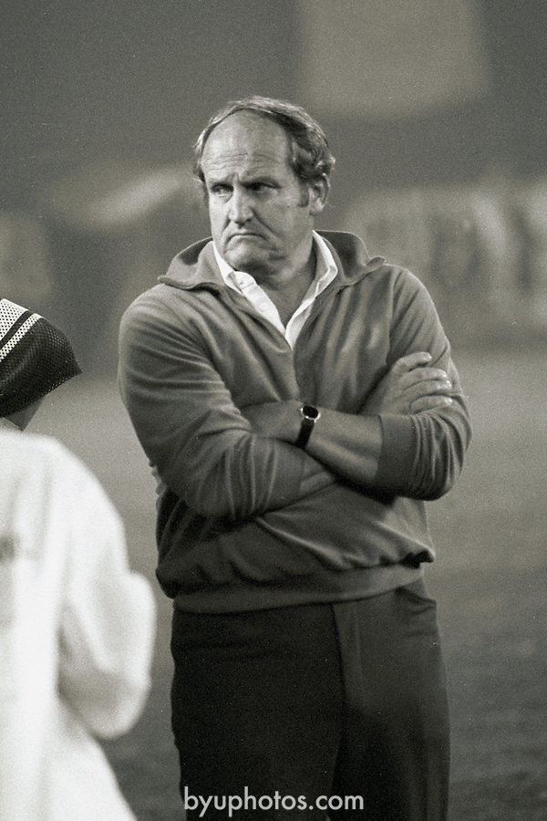 FTB 411 Q-44a<br /> <br /> Holiday Bowl vs Washington. Coach LaVell Edwards.<br /> <br /> December 14-18, 1981<br /> <br /> Photo by Mark Philbrick/BYU<br /> <br /> &copy; BYU PHOTO 2009<br /> All Rights Reserved<br /> photo@byu.edu  (801)422-7322