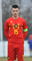 20180308 - TUBIZE , BELGIUM : Belgian Dragan Lausberg pictured during a friendly game between the teams of the Belgian Red Devils Under 16 and Northern Ireland Under 16 at the Belgian Football Centre in Tubize , Thursday 8 th March 2018 ,  PHOTO Dirk Vuylsteke | Sportpix.Be