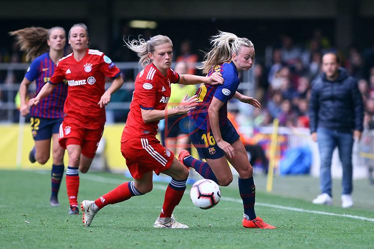 UEFA Women's Champions League 2018/2019.<br /> Semi Finals<br /> FC Barcelona vs FC Bayern Munchen: 1-0.<br /> Carina Wenninger vs Toni Duggan.