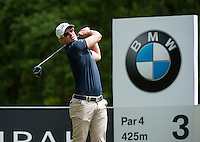 24.05.2015. Wentworth, England. BMW PGA Golf Championship. Final Round. Magnus A Carlsson [SWE] Tee shot on the 3rd hole during the final round of the 2015 BMW PGA Championship from The West Course Wentworth Golf Club