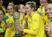 16.08.2015 Australia Laura Geitz and Julie Corletto celebrate winning the gold medal after the Silver Ferns v Australia Gold Medal netball match at the 2015 Netball World Cup at All Phones Arena in Sydney Australia. Mandatory Photo Credit ©Michael Bradley.