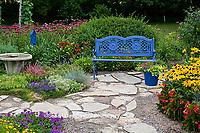 63821-21614 Blue bench, stone path, arbor, butterfly house & bird bath in flower garden.  Black-eyed Susans (Rudbeckia hirta)  Red Dragon Wing Begonias (Begonia x hybrida) Homestead Purple Verbena, New Gold Lantana,  Marion Co., IL