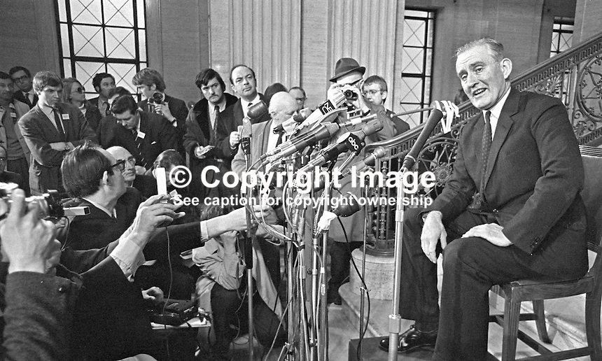 Major James Chichester-Clark giving his first press conference as newly-chosen Prime Minister of N Ireland. The Ulster Unionist parliamentary party voted 17-16 in favour of Chichester-Clark. The press conference took place in the main hall at Parliament Buildings, Stormont. 196905010171.<br /> <br /> Copyright Image from Victor Patterson,<br /> 54 Dorchester Park, Belfast, UK, BT9 6RJ<br /> <br /> t1: +44 28 90661296<br /> t2: +44 28 90022446<br /> m: +44 7802 353836<br /> <br /> e1: victorpatterson@me.com<br /> e2: victorpatterson@gmail.com<br /> <br /> For my Terms and Conditions of Use go to<br /> www.victorpatterson.com