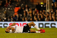 Aleksandar Mitrovic of Fulham FC lays prone during the Sky Bet Championship match between Fulham and Sheff United at Craven Cottage, London, England on 6 March 2018. Photo by Carlton Myrie.