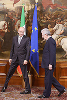 Roma, 28 Aprile 2013.Palazzo Chigi.Primo giorno del Governo Letta.Nella foto Mario Monti e Enrico Letta per mil Passaggio di consegne