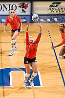 SAN ANTONIO, TX - OCTOBER 5, 2007: The Prairie View A&M University Panthers vs. The University of Texas at San Antonio Roadrunners Volleyball at the UTSA Convocation Center. (Photo by Jeff Huehn)