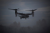 a Bell-Boeing V-22 Osprey carrying press and staff arrives in Manhattan ahead of Marine One in New York, New York on Sunday, September 18, 2016.  United States President Barack Obama will address the 71st UN General Assembly Tuesday in his last major appearance at the annual gathering of world leaders.<br /> Credit: John Taggart / Pool via CNP