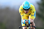 Race leader Luis Leon Sanchez (ESP) Astana Pro Team in action during Stage 4 of the Paris-Nice 2018 an 18km individual time trial running from La Fouillouse to Saint-Etienne, France. 7th March 2018.<br /> Picture: ASO/Alex Broadway | Cyclefile<br /> <br /> <br /> All photos usage must carry mandatory copyright credit (&copy; Cyclefile | ASO/Alex Broadway)