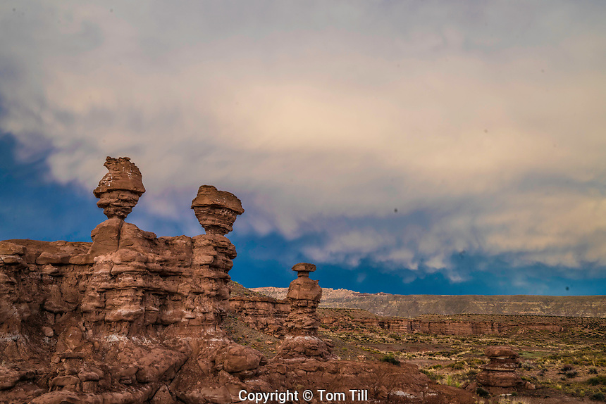 Pinnacles and mammata clouds, Recapture Pocket, BLM land near San Juan River, Utah