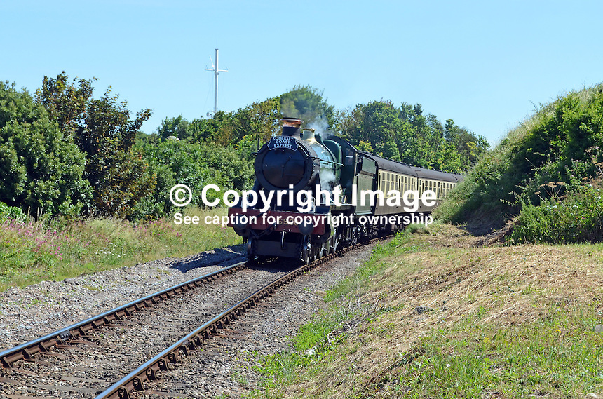 Locomotive, Raveningham Hall, No 6960, approaching Watchet station on its journey from Bishops Lydeard to Minehead.  West Somerset Railway, UK, July, 2014, 201407093448<br /> <br /> Copyright Image from Victor Patterson, 54 Dorchester Park, Belfast, UK, BT9 6RJ<br /> <br /> Tel: +44 28 9066 1296<br /> Mob: +44 7802 353836<br /> Voicemail +44 20 8816 7153<br /> w: victorpatterson.com<br /> <br /> e1: victorpatterson@me.com<br /> e2: victorpatterson@gmail.com<br /> <br /> <br /> IMPORTANT: Please see my Terms and Conditions of Use at www.victorpatterson.com
