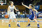 17 November 2012: Duke's Jenna Frush (35) and Presbyterian's Karlee Taylor (10). The Duke University Blue Devils played the Presbyterian College Blue Hose at Cameron Indoor Stadium in Durham, North Carolina in an NCAA Division I Women's Basketball game. Duke won the game 84-45.