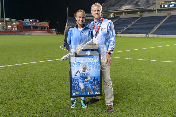 Bridgeview, IL - Saturday August 12, 2017: A ceremony is held for Alyssa Mautz to celebrate her 100th cap after a regular season National Women's Soccer League (NWSL) match between the Chicago Red Stars and the Portland Thorns FC at Toyota Park. Portland won 3-2.