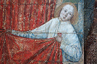 Angel tugging on drapery, detail of the wall painting adorning the tomb of Ferry de Beauvoir (1473) first bay at the choir screen in the south ambulatory, Amiens Cathedral, 13th century, Amiens, Somme, Picardie, France. Picture by Manuel Cohen