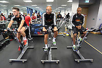 Pictured L-R: Matt Grimes, Jonjo Shelvey and Andre Ayew Sunday 28 June 2015<br />