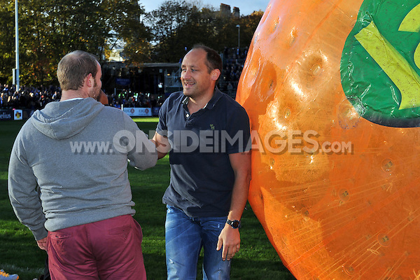 David Barnes looks on after performing in the half-time Jaffa zorbing. European Rugby Champions Cup match, between Bath Rugby and Toulouse on October 25, 2014 at the Recreation Ground in Bath, England. Photo by: Patrick Khachfe / Onside Images