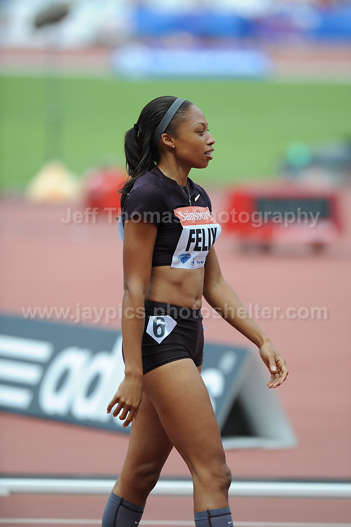 Allyson Felix of the USA at the Sainsbury Anniversary Games, Olympic Stadium, London England, Saturday 27th July 2013-Copyright owned by Jeff Thomas Photography-www.jaypics.photoshelter.com-07837 386244. No pictures must be copied or downloaded without the authorisation of the copyright owner.