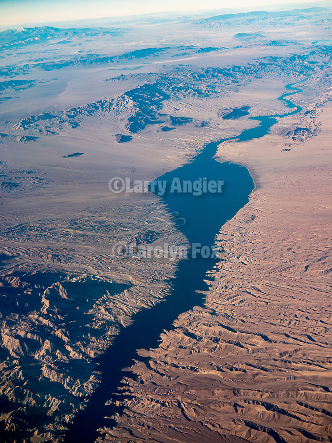 Lake Mohave, Colorado River, from a window seat on a United Airlines flight from Chicago to Los Angeles over America's Flyover County.