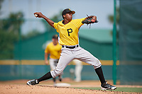 Pittsburgh Pirates pitcher Francis Del Orbe (37) delivers a pitch during an Instructional League intrasquad black and gold game on October 6, 2017 at Pirate City in Bradenton, Florida.  (Mike Janes/Four Seam Images)