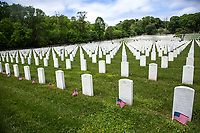 NEW YORK, NY - MAY 25: View of the graves of American soldiers with flags at the Cypress Hill Military Cemetery on May 25, 2020 in Brooklyn, NY. Memorial Day is an American holiday that commemorates the men and women who died while serving in the United States Army. Today this date is celebrated during the Covid-19 pandemic that has caused thousands of deaths in the United States and around the world. (Photo by Pablo Monsalve / VIEWpress)