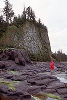 Haida Gwaii (Queen Charlotte Islands), Northern BC, British Columbia, Canada - Hiker exploring Tidal Pools at Tow Hill and North Beach along McIntyre Bay, Naikoon Provincial Park, Graham Island (Model Released)