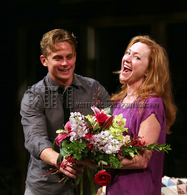 "Billy Magnussen and Julie White during the Curtain Call as Julie White makes her Debut Performance In ""Vanya And Sonia And Masha And Spike"" at The Golden Theatre on July 30, 2013 in New York City."