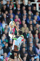 Tomas Vallejos of Harlequins wins a lineout during the Aviva Premiership match between Harlequins and Leicester Tigers at The Twickenham Stoop on Saturday 21st April 2012 (Photo by Rob Munro)