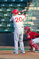 Spencer Kieboom (20) of the Hagerstown Suns at bat against the Hickory Crawdads at L.P. Frans Stadium on May 7, 2014 in Hickory, North Carolina.  The Suns defeated the Crawdads 4-2.  (Brian Westerholt/Four Seam Images)