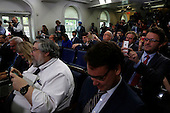 Members of the Press react as Actress Allison Janney, who played former press secretary C.J. Gregg on the show the West Wing, and currently staring in the CBS sitcom Mom, makes a surprise appearance during the Josh Earnest's daily Presidential briefing, in the Press Briefing of the White House on April 29, 2016. Allison Janney is here to highlight prevention against drug uses and abuse. <br /> Credit: Aude Guerrucci / Pool via CNP