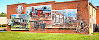 Murals on historic building in Davenport Oklahoma on Route 66.