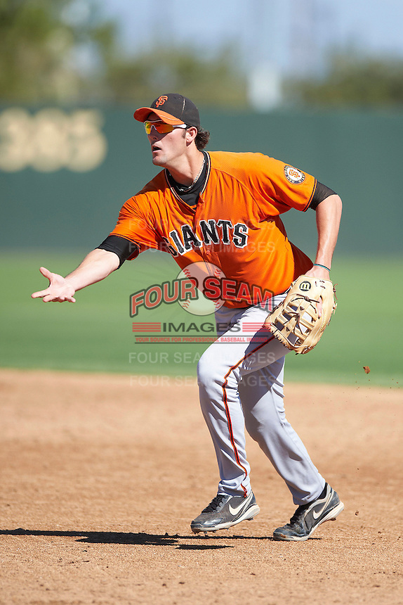 San Francisco Giants minor league infielder Joe Rapp #35 during an instructional league game against the Oakland Athletics at the Papago Park Baseball Complex on October 17, 2012 in Phoenix, Arizona. (Mike Janes/Four Seam Images)