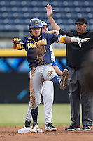 Robbie Tenerowicz (1) of the California Golden Bears celebrates after hitting a double against the Duke Blue Devils at Durham Bulls Athletic Park on February 20, 2016 in Durham, North Carolina.  The Blue Devils defeated the Golden Bears 6-5 in 10 innings.  (Brian Westerholt/Four Seam Images)