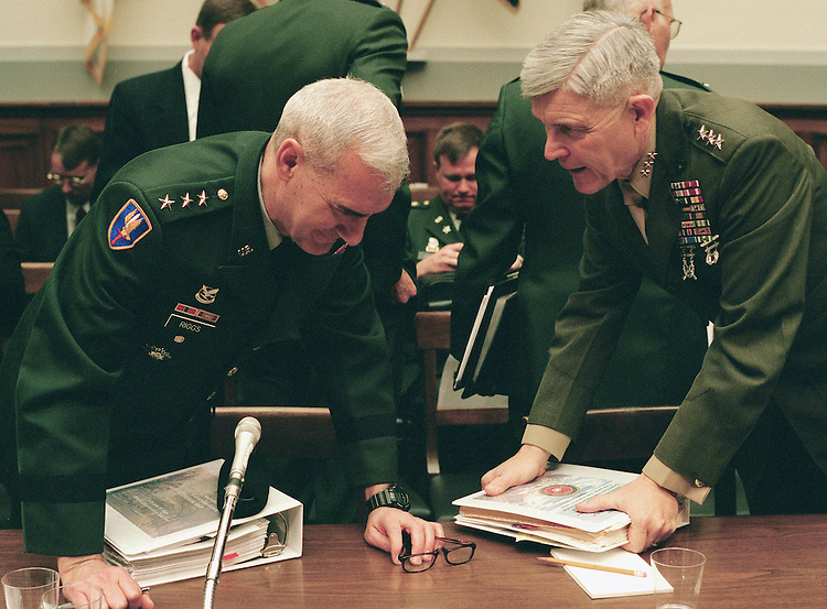 4/11/02.2003 NATIONAL DEFENSE AUTHORIZATION BUDGET REQUEST--Lt. Gen. John M. Riggs, USA, director of the Objective Force-Task Force, and Lt. Gen. Edward Hanlon Jr., USMC, Commanding General, Marine Corps Combat Development Command, after testifying before the Military Procurement Subcommittee and Military Research & Development Subcommittee on the fiscal year 2003 National Defense Authorization budget request..CONGRESSIONAL QUARTERLY PHOTO BY SCOTT J. FERRELL