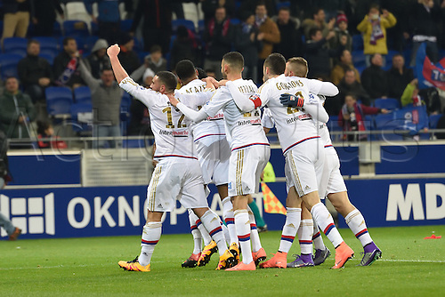28.02.2016. Lyon, France. French League 1 football. Olympique Lyon versus Paris St Germain.  Goal celebrations from Maxwel Cornet (lyon)