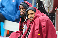 Landover, MD - September 23, 2018: Washington Redskins tight end Vernon Davis (85) and Washington Redskins tight end Jordan Reed (86) on the bench during the  game between Green Bay Packers and Washington Redskins at FedEx Field in Landover, MD.   (Photo by Elliott Brown/Media Images International)