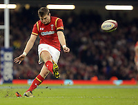 Dan Biggar of Wales scores with a kick during the RBS 6 Nations Championship rugby game between Wales and Scotland at the Principality Stadium, Cardiff, Wales, UK Saturday 13 February 2016
