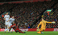 2nd January 2020; Anfield, Liverpool, Merseyside, England; English Premier League Football, Liverpool versus Sheffield United; Sheffield United goalkeeper Dean Henderson saves the shot of Sadio Mane of Liverpool but is unable to prevent his scoring from the rebound - Strictly Editorial Use Only. No use with unauthorized audio, video, data, fixture lists, club/league logos or 'live' services. Online in-match use limited to 120 images, no video emulation. No use in betting, games or single club/league/player publications